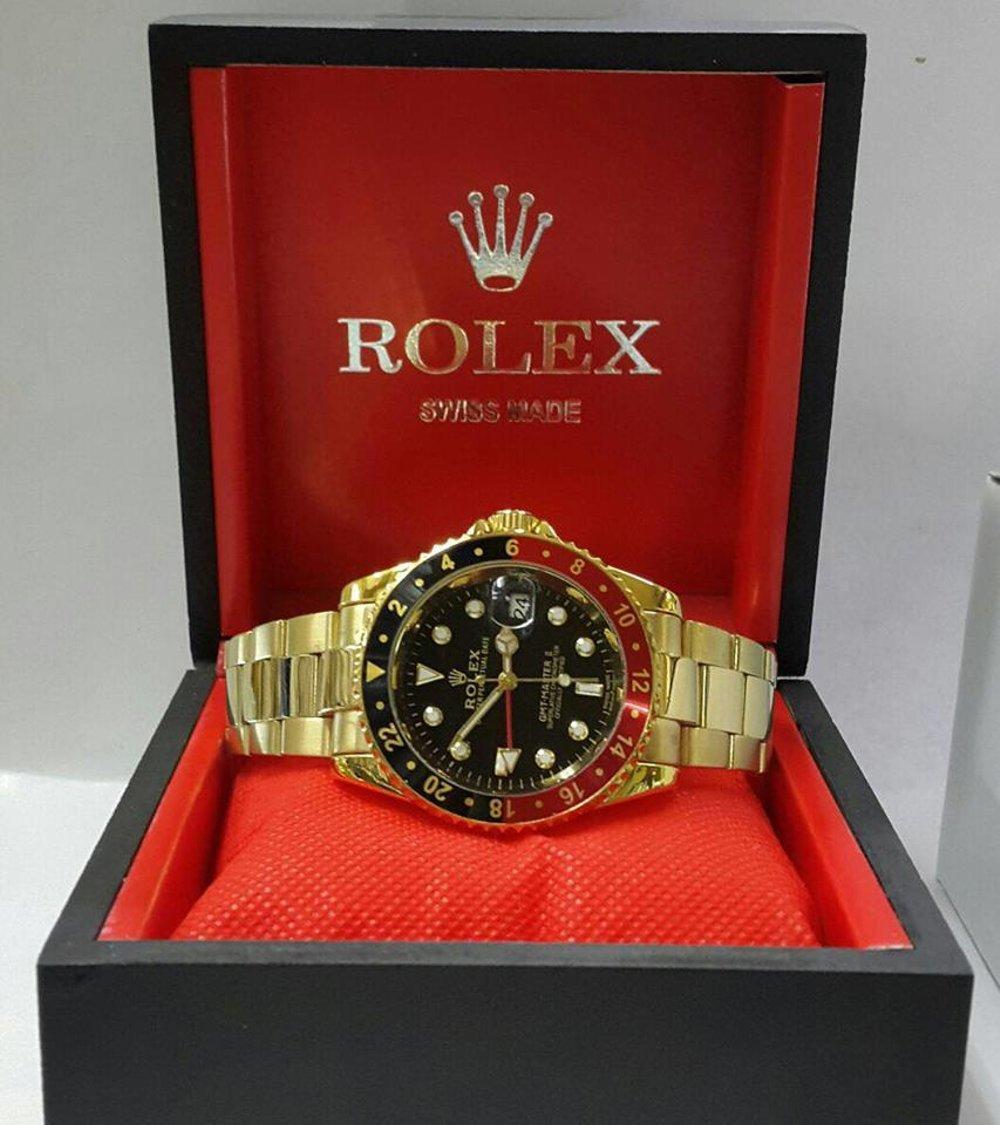 Jam Tangan Rolex GMT Master II Gold Black Combi Red