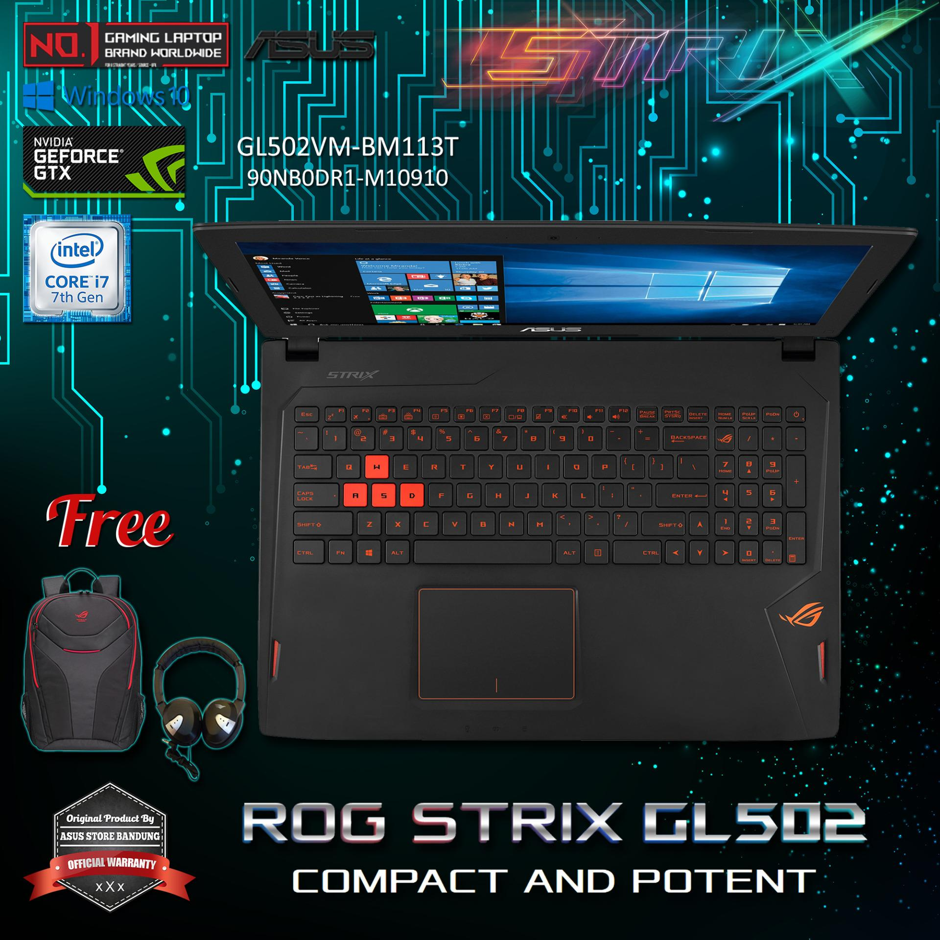 Asus ROG Strix GL502VM-BM113T (90NB0DR1-M10910) Intel(R) Core(TM) i7 7700HQ NVIDIA GeForce GTX 1060 3GB 16GB RAM DDR4 1TB HDD + 128GB SSD + Windows 10 Original + Free Headphone + ROG Backpack