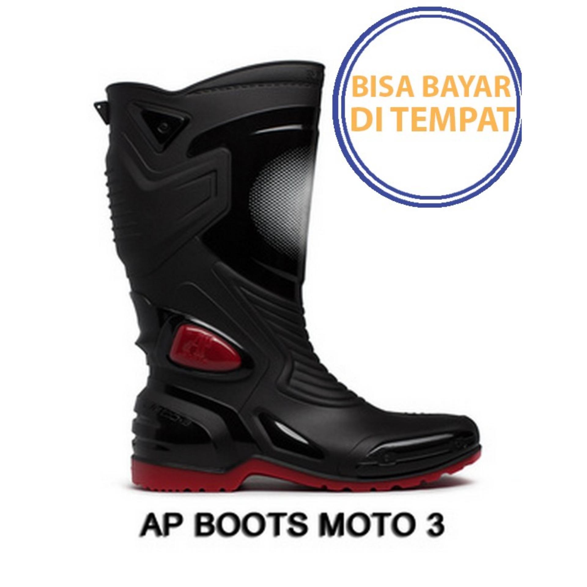 PROMO SAAT INI    Sepatu touring cross trail balap drag Anti Air AP BOOTS MOTO 3 MOTO