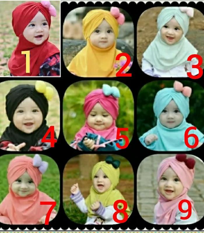Jilbab anak bayi cantik pita - 3 Bulan-3tahun, Biru Muda