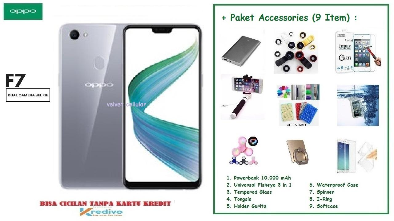 OPPO F7 [4/64GB] + Accessories Package (9 Item)