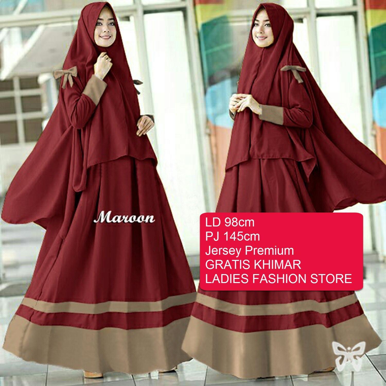 Ladies Fashion Gamis Maxi Muslim Wanita GRATIS JILBAB / Gamis Panjang / Baju Gamis Lebaran / Atasan Wanita / Baju Muslim / Fashion Wanita / Gamis Syari Syar'i / Dress Maxi / Gaun Wanita / Baju Muslim 2in1 (raay arisy) SS - Maroon D2C