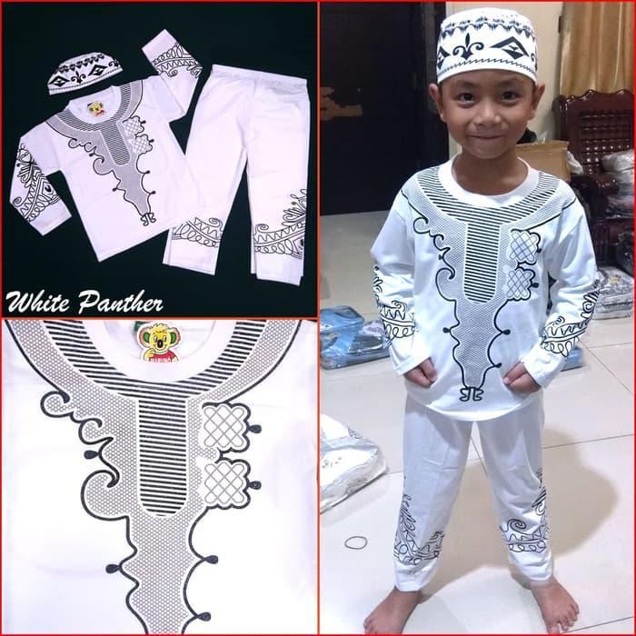 JUAL Baju Koko WHITE PANTHER Pakaian Muslim Anak Laki Premium Mewah MARUNO - II-IV Tahun