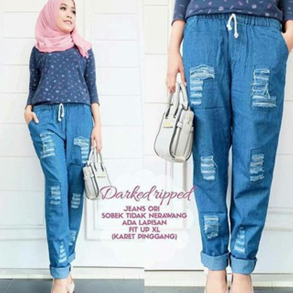 Celana Ripped Jeans - Celana Jeans Panjang Sobek Tidak Tembus Celana Jeans Light Casual Bawahan Simple Wanita Hijab Modern Trendy
