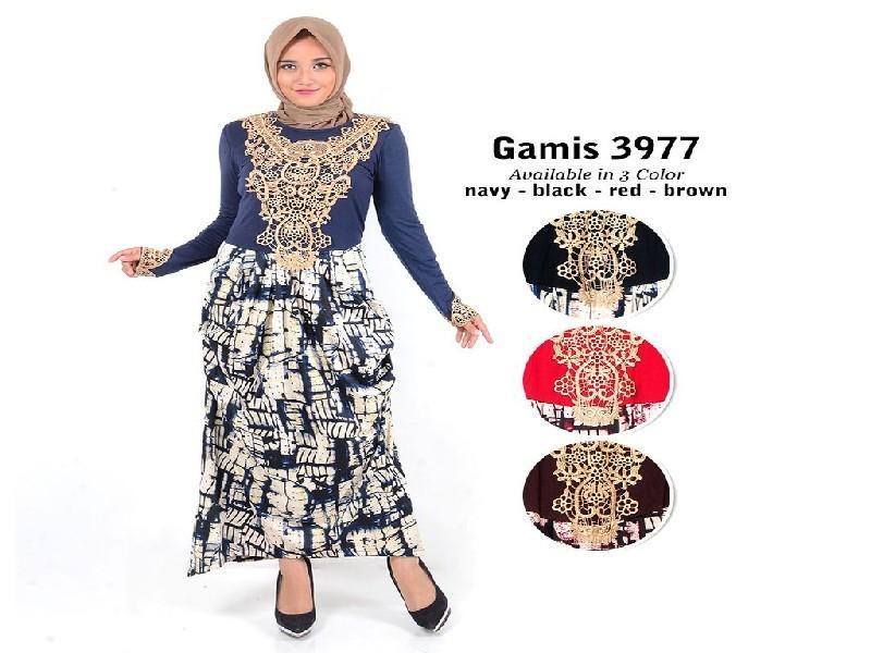 Fashion Baju Gamis Dress XL Jumbo Big Size Murah Fashion Wanita Muslim Kekinian 3977