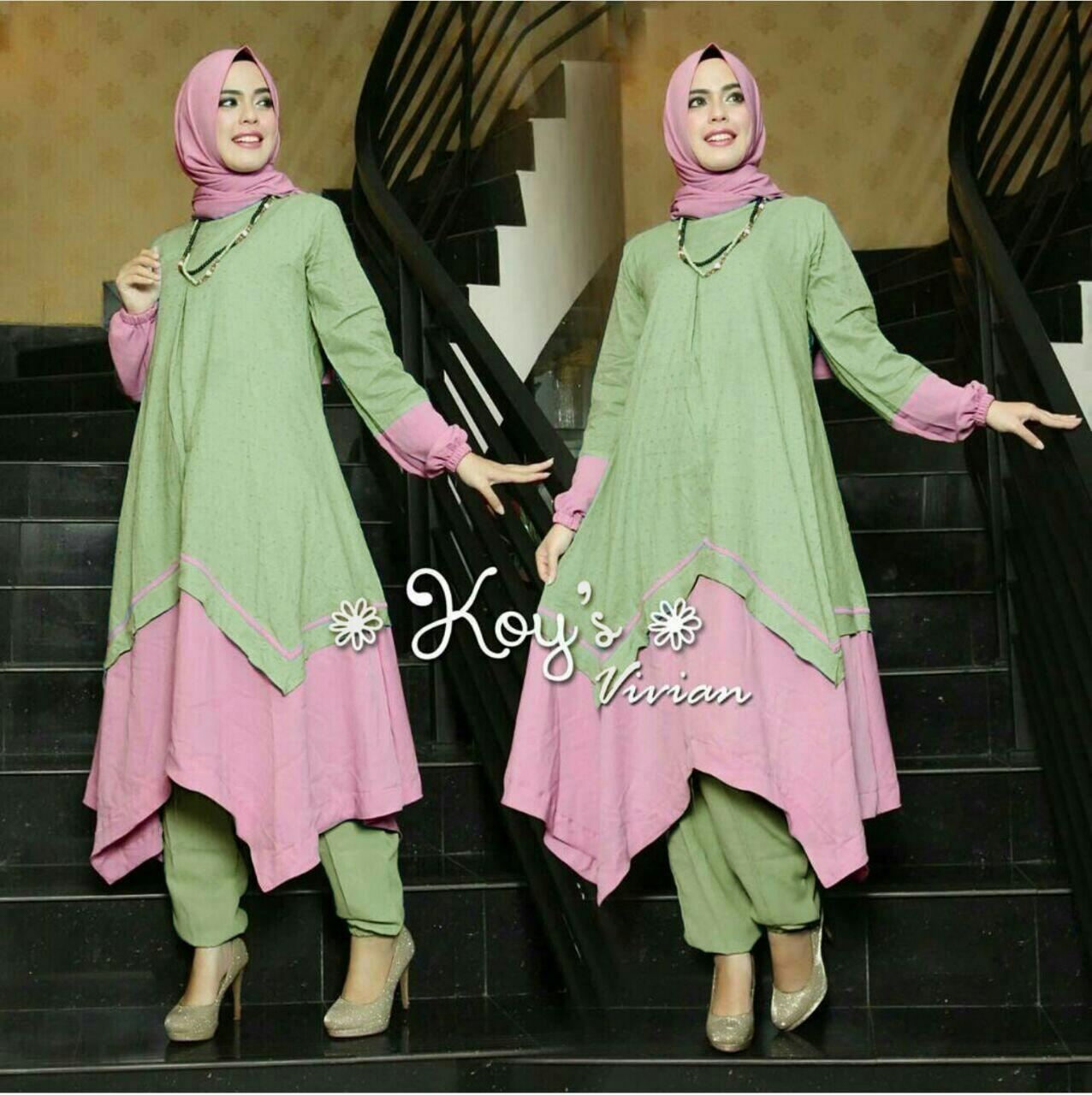 Kehebatan Tunik Set Vivian 3 Mint Original By Koys Ready Dan Harga Lipit Gamis Polos 3in1 Syari Green