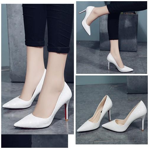 Sepatu Fashoin Wanita SHH288-White High Heels Flat Wanita 8CM Batam Wanita