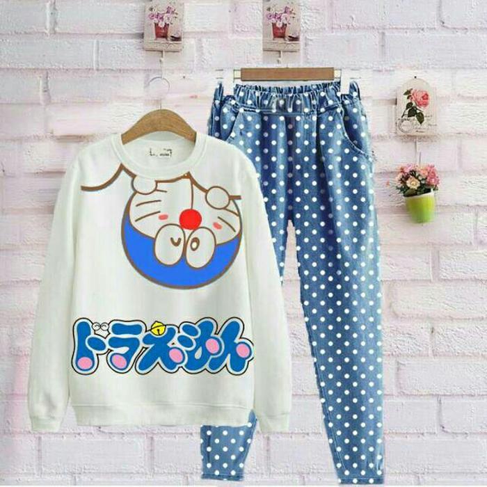 Setelan Baju Sweater dan Celana Wanita Doraemon 4 Babyterry MK Store - Biru