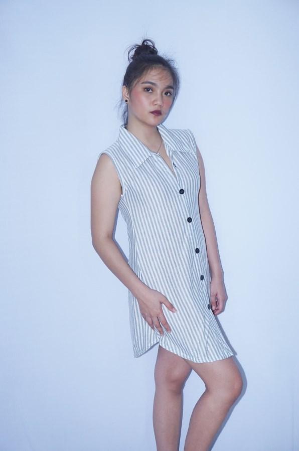 Divya Store Augusta Dress Tunik Tanpa Lengan Motif Garis-garis - Size M