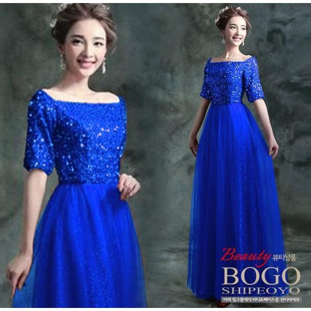 MURAH ABISS !! [Longdress Dyana Blue FT] Dress Wanita Spandek Payet Biru