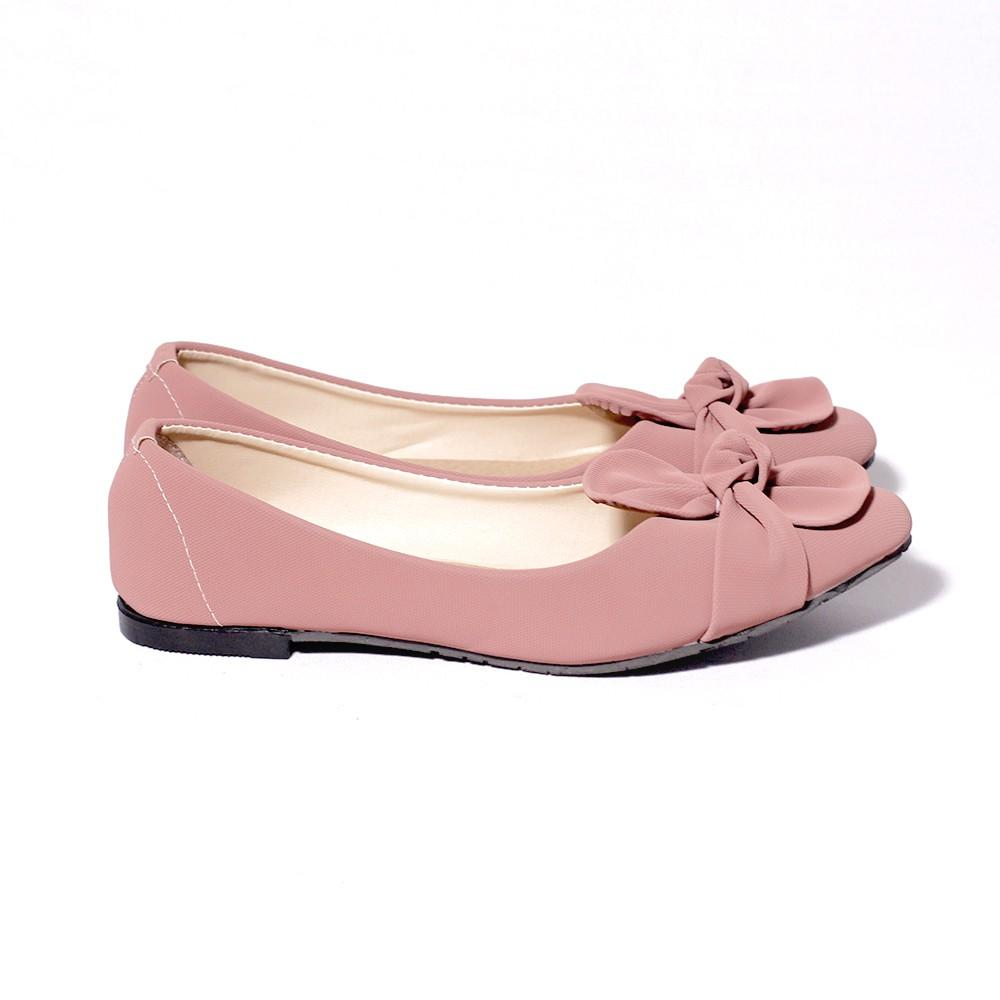Mall BTM Fashion - Kmall Sepatu Flat Wanita Motif Pita Ikat Harga Murah - Pink