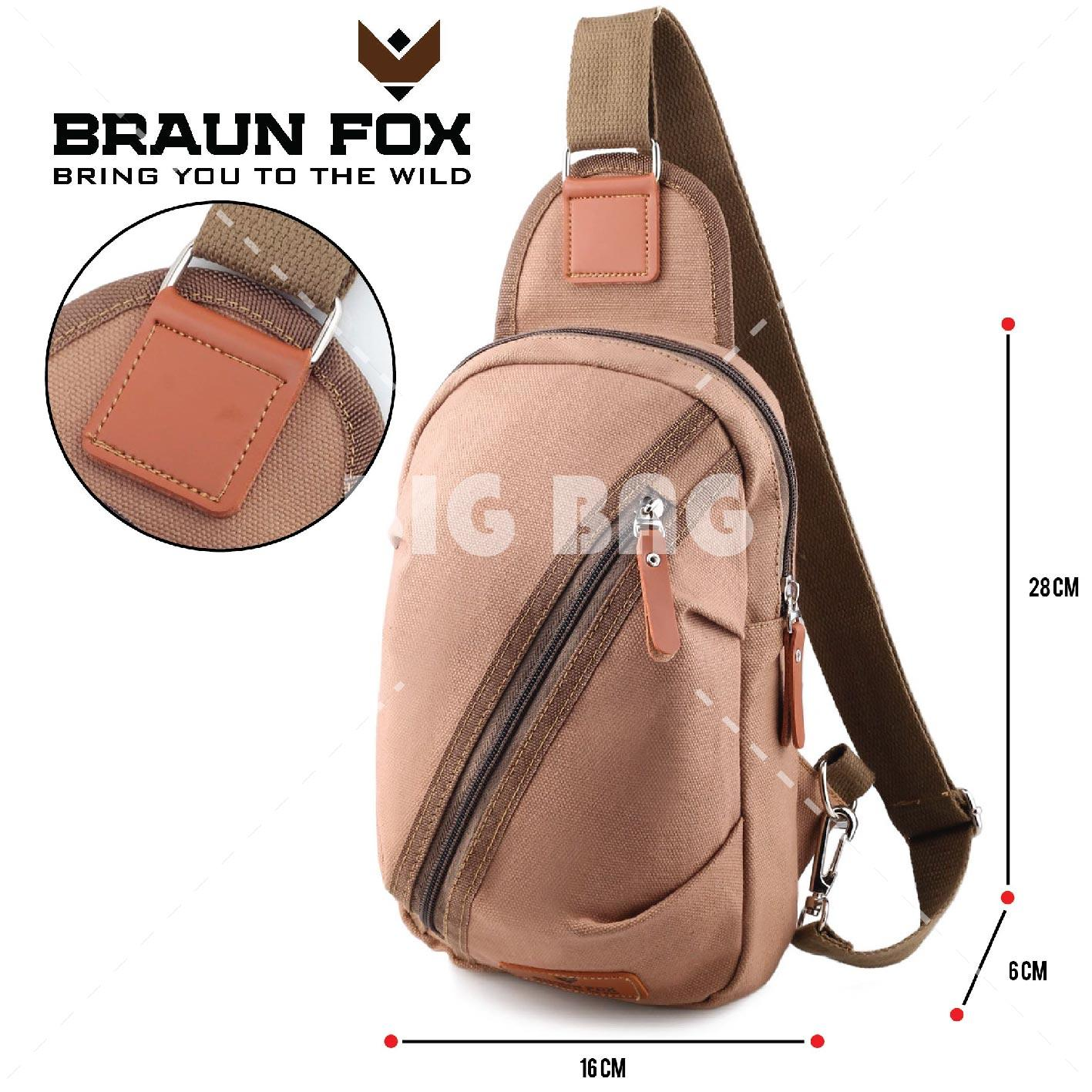 Tas Selempang Braun Fox Phillomon ARC - Fashion Men and Women Messenger Bag Casual Shoulder Canvas Chest Bag Packs Ruched Bags - Black - Tas Sandang Pria Tas Messenger Tas Slempang Crossbody Man Tas Fashion Pria