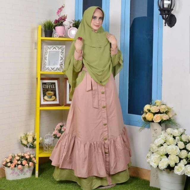 MARISSA DRESS/BAJU MURAH/GAMIS MUSLIM/TANAH ABANG/PAKAIAN WANITA MURAH/DRESS MURAH/DRESS MODIS Green-Mocca