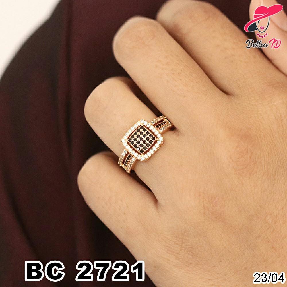 Perhiasan Cincin Emas Simple Full Permata Batu Hitam Terbatas C 2721
