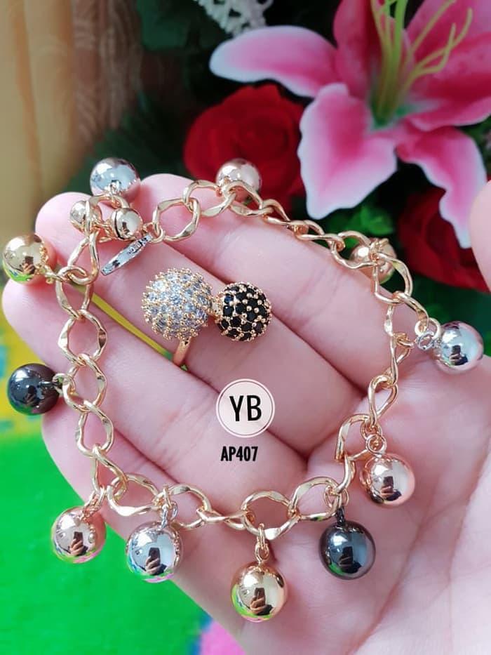 set cincin dan gelang xuping silver dan gold AP407 geser samping