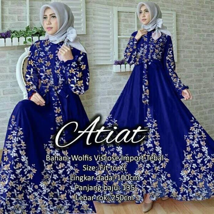 maxi XL mx ATIAT HITAM / baju wanita longdress hijab muslim wolfis impor terbaru masa kini