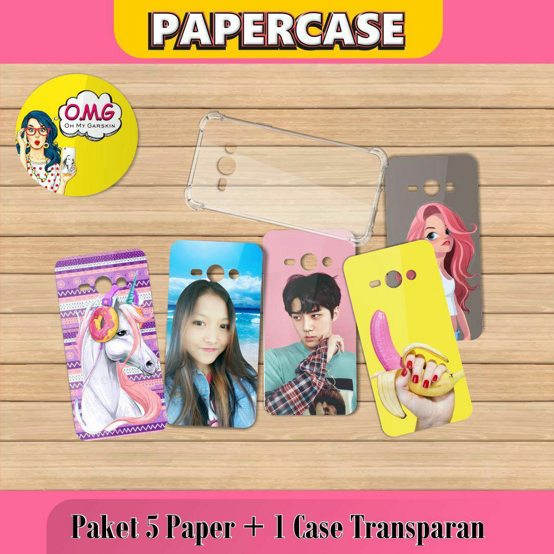 Papercase. Paket 5 Paper + 1 Softcase Bening. Motif Bebas. Bisa Custom Pakai Foto Sendiri