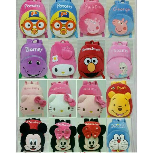 Tas ransel boneka anak karakter 2rest Pororo peppa Melody Elmo Hello Kitty Minnie sz m import