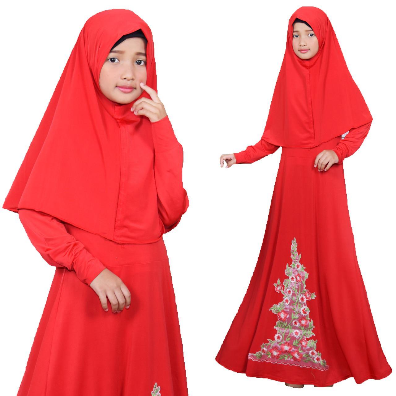 Grateful Fashion Syari Anak Anak Fitri Umur 8-10Tahun  - Maroon  Best Seller 3