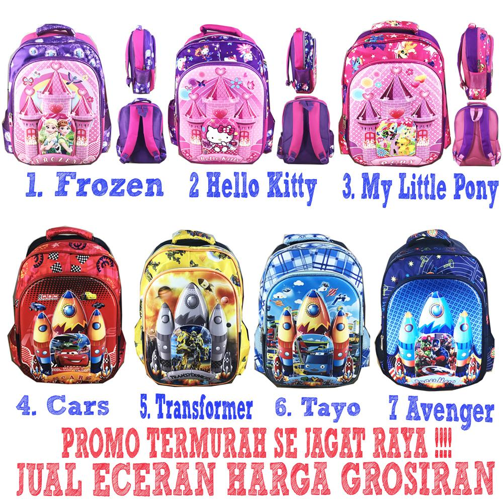 Special Hanya Di Lazada Tas Ransel Sekolah Anak SD IMPORT Motif Pony Transformer Cars Tayo Frozen Hello Kitty ( Pilihan Varian Tersedia )