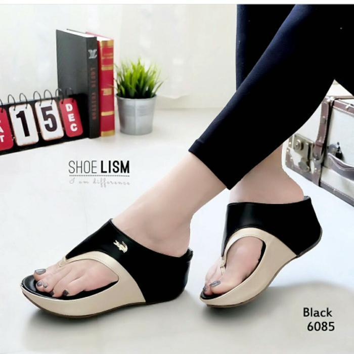 Sepatu wanita sneakers/Sepatu wanita flat/Sepatu wanita wedges/Sepatu wanita heels/Sepatu wanita murah/Sepatu wanita kickers/Sepatu wanita import WEDGES CROCODILE HITAM - Hitam, 37
