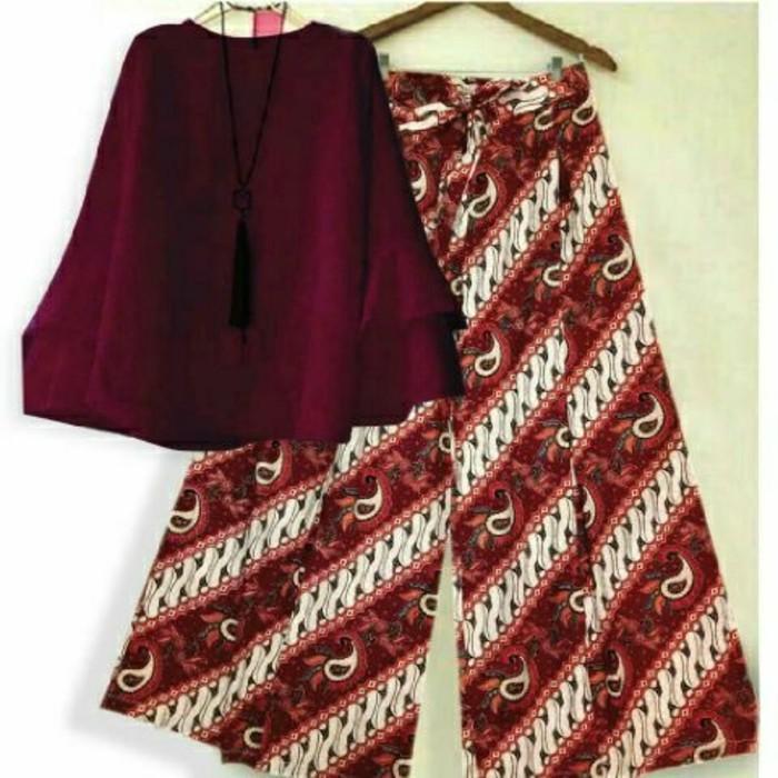 (JNH Shop)  Setelan Blouse Baloteli Merah Xl Celana Kulot Batik Modern 10 Merah TA
