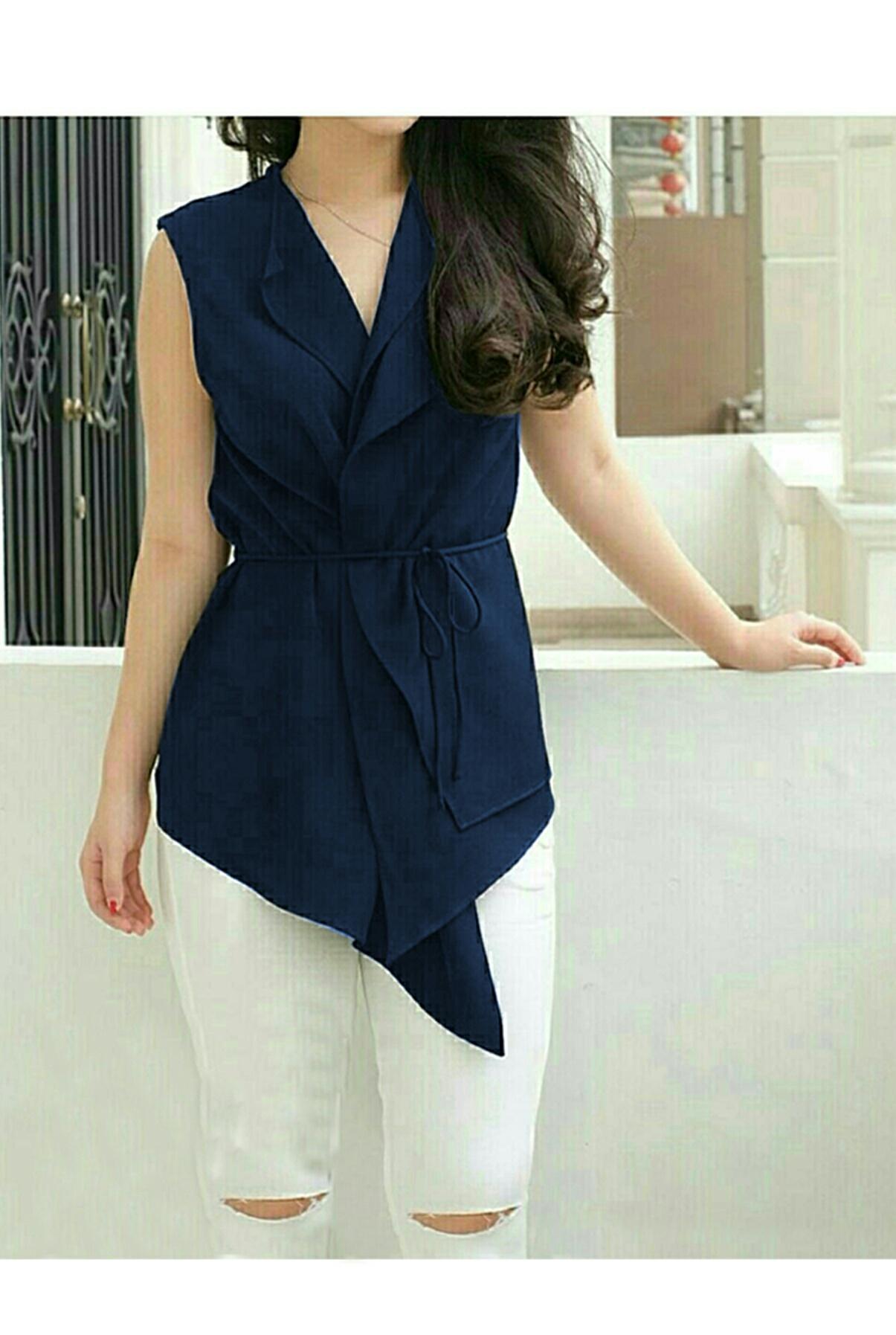 Kedai_baju Blouse Wanita / Baju Wanita / Blouse Korea / Atasan Wanita / Baju Formal / Tunik / Blouse Vita Navy – O