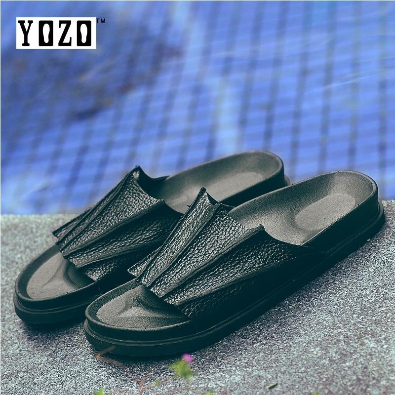 Yozo Indonesia Ngumpul Di Sini By The Crowd Modis Pantai Sepatu Sandal Pria Kasual Sandal Musim Panas Sandal Pria Ukuran 39-47-Internasional