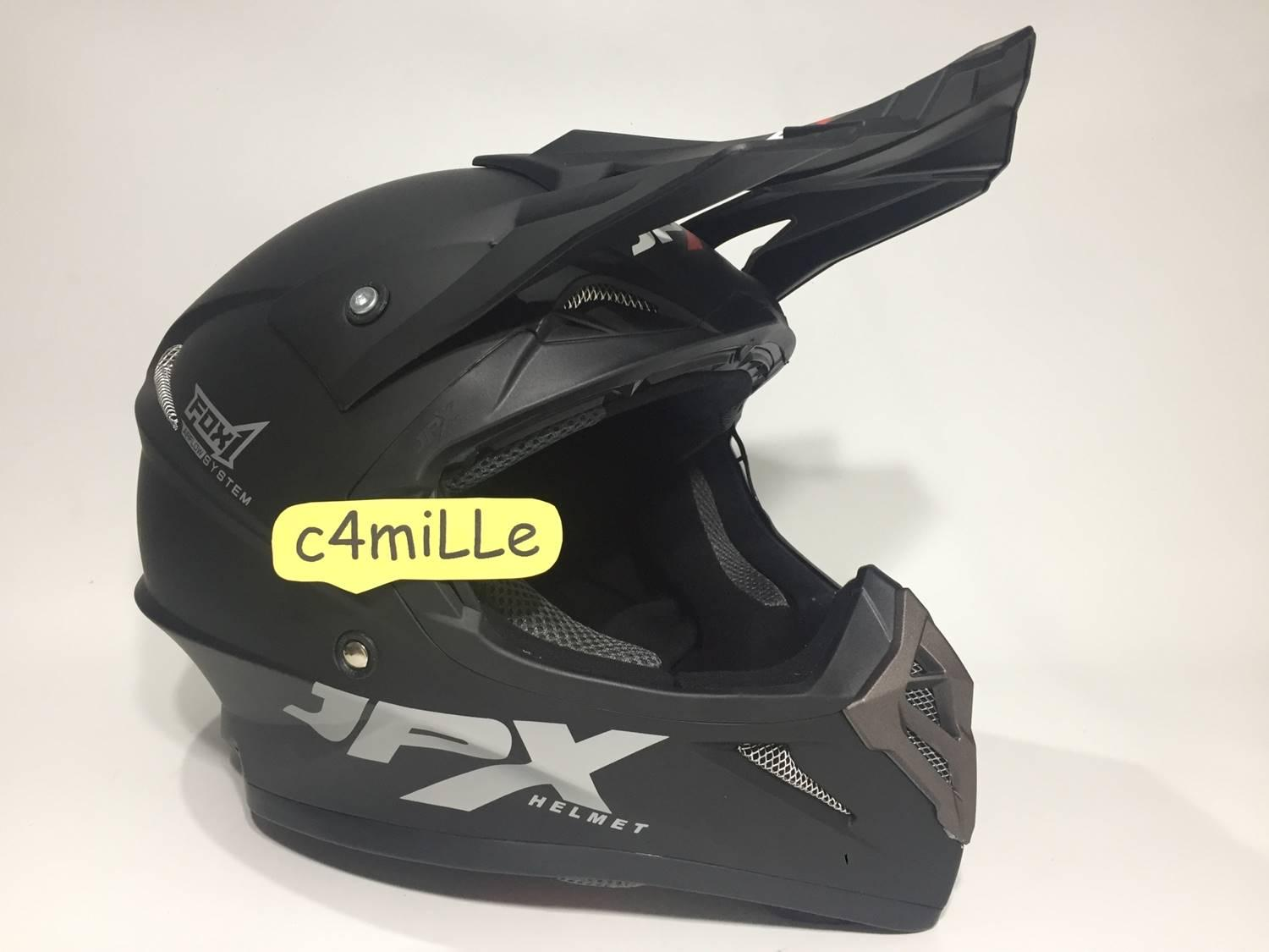 HELM JPX CROSS SOLID BLACK DOFF TRAIL SUPER CROSS