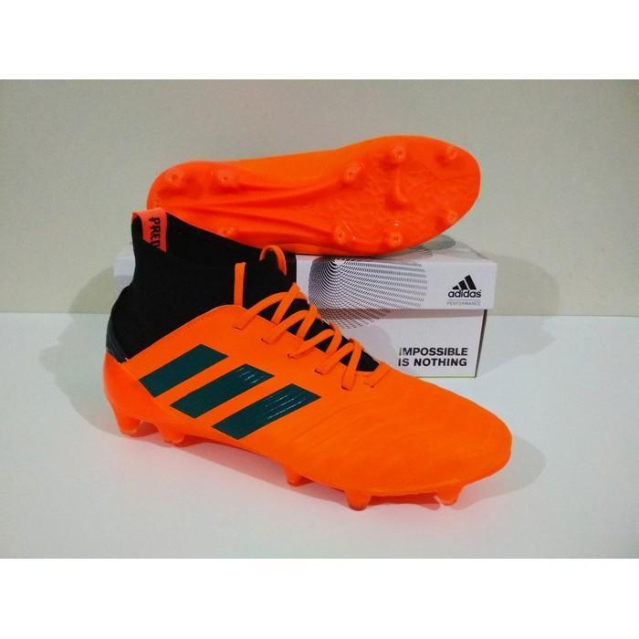 MURAH BERKUALITAS Sepatu Bola Adidas Predator Boots FG (Orange Black) 100% Real Pic