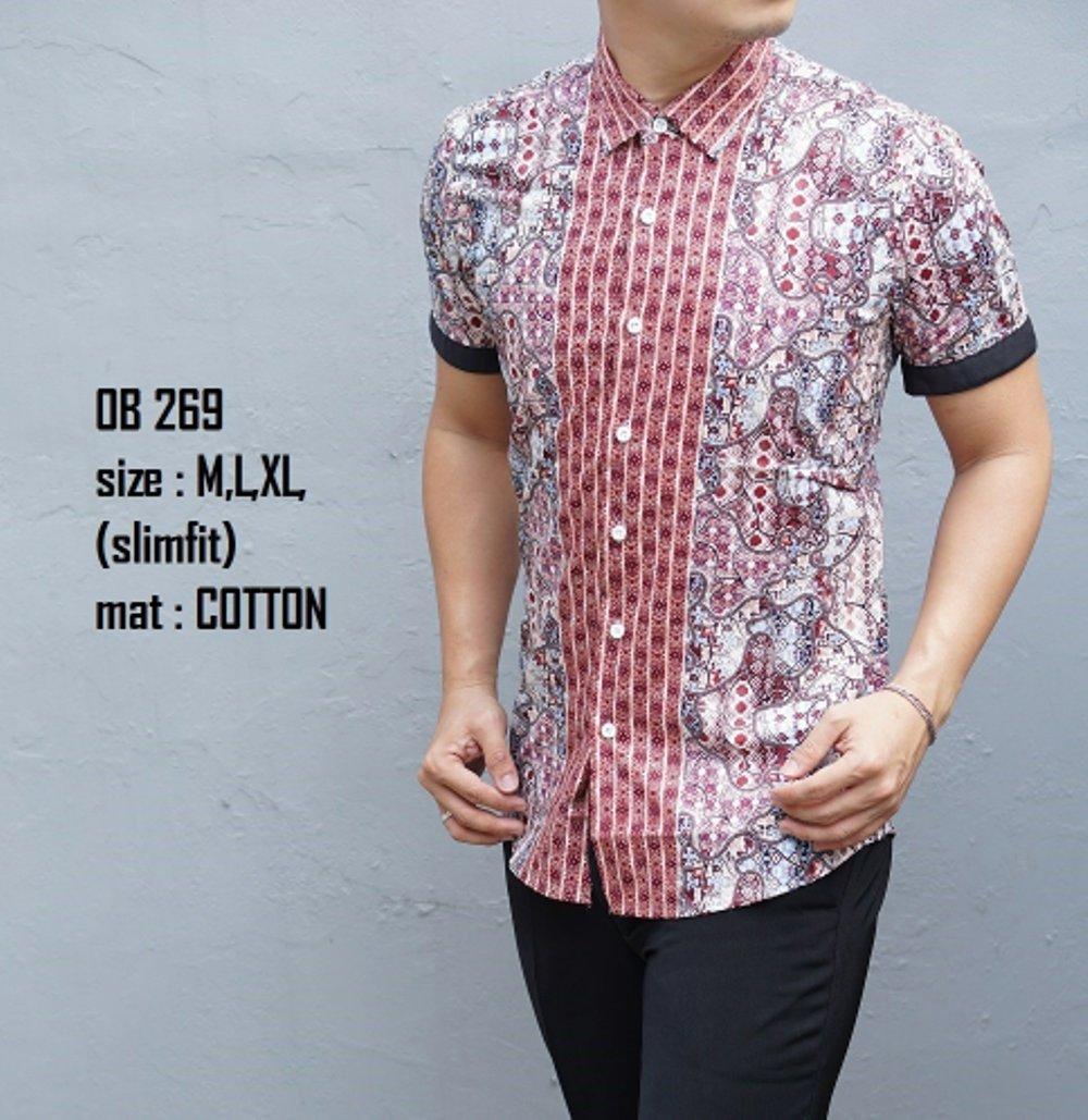 Kemeja Batik Slimfit OB269.             ( fashion pria batik slimfit reguler jas dasi hem blazer jaket sweater kaos oblong tshirt polo celana jeans couple pakaian muslim gamis dress blouse baju koko) di lapak New Trendy newtrendy