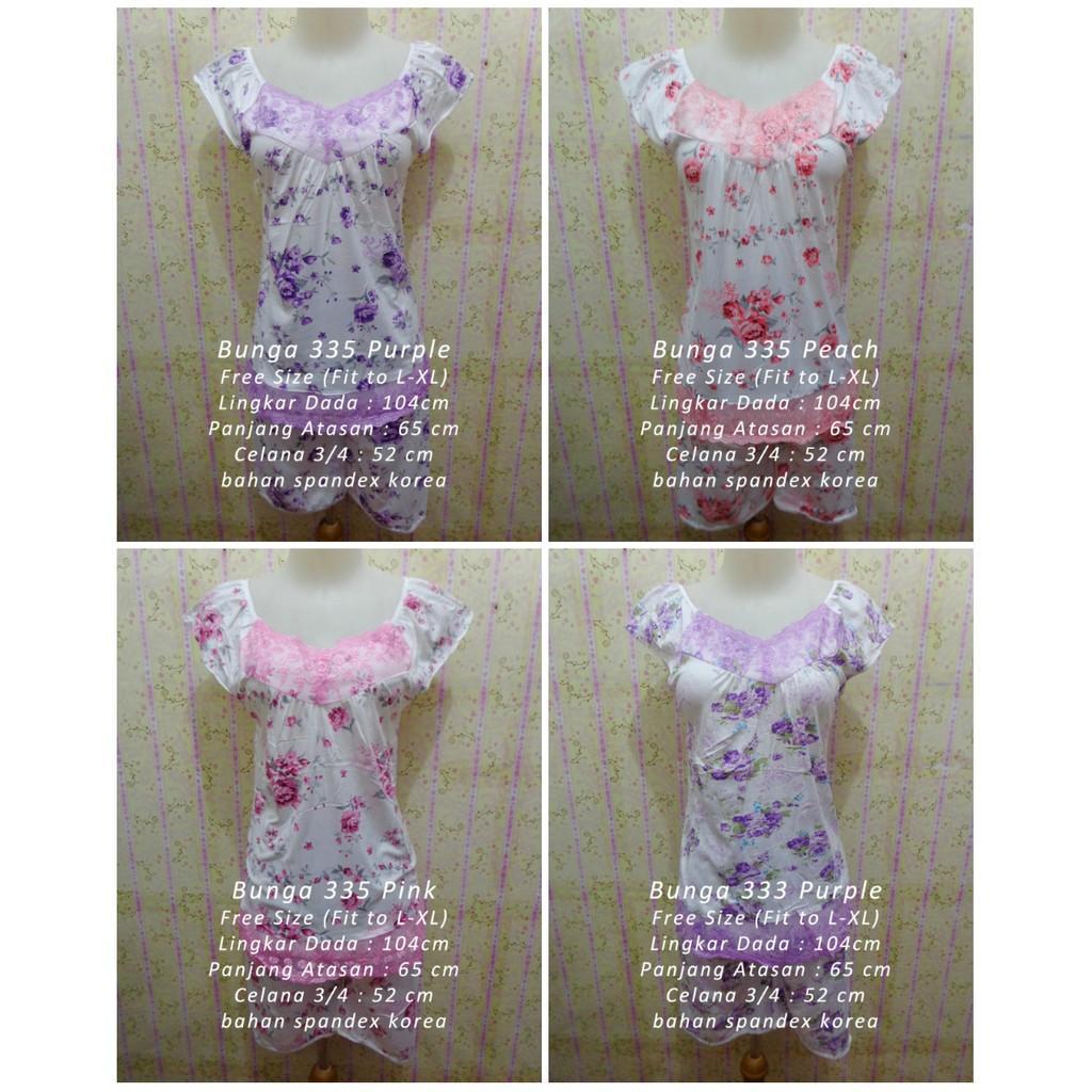 Piyama Stelan Spandex Korea Baju Tidur Bunga Sleepwear Pakaian Wanita Murah Grosir