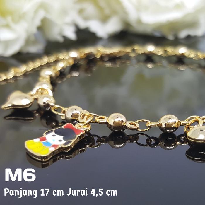M6 Gelang Kaki Anak /Bayi Kerincing Perhiasan Imitasi Xuping Emas Asli