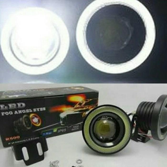 Lampu Fog Lamp Mobil LED FogLamp Angel Eyes 89mm Projector Universal