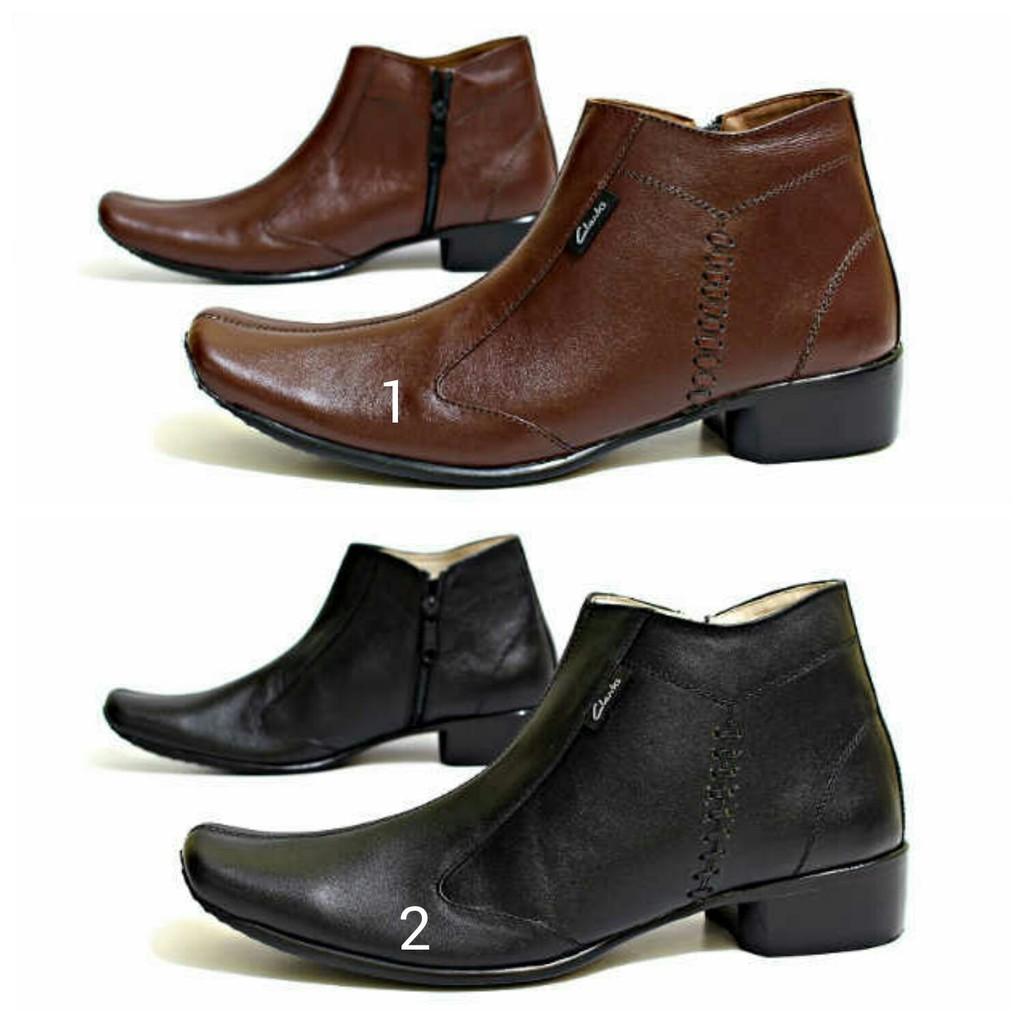 Sepatu Pantopel Clarks Formal Casual Kerja Santai Hitam Cokelat Boots Zipper Sleting Kulit Sapi Asli