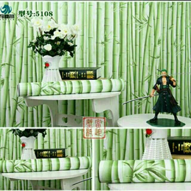Wallpaper Dinding Murah Ruang Tamu Kamar Bambu Hijau Terbagus Terlaris Indah Elegan Monimalis