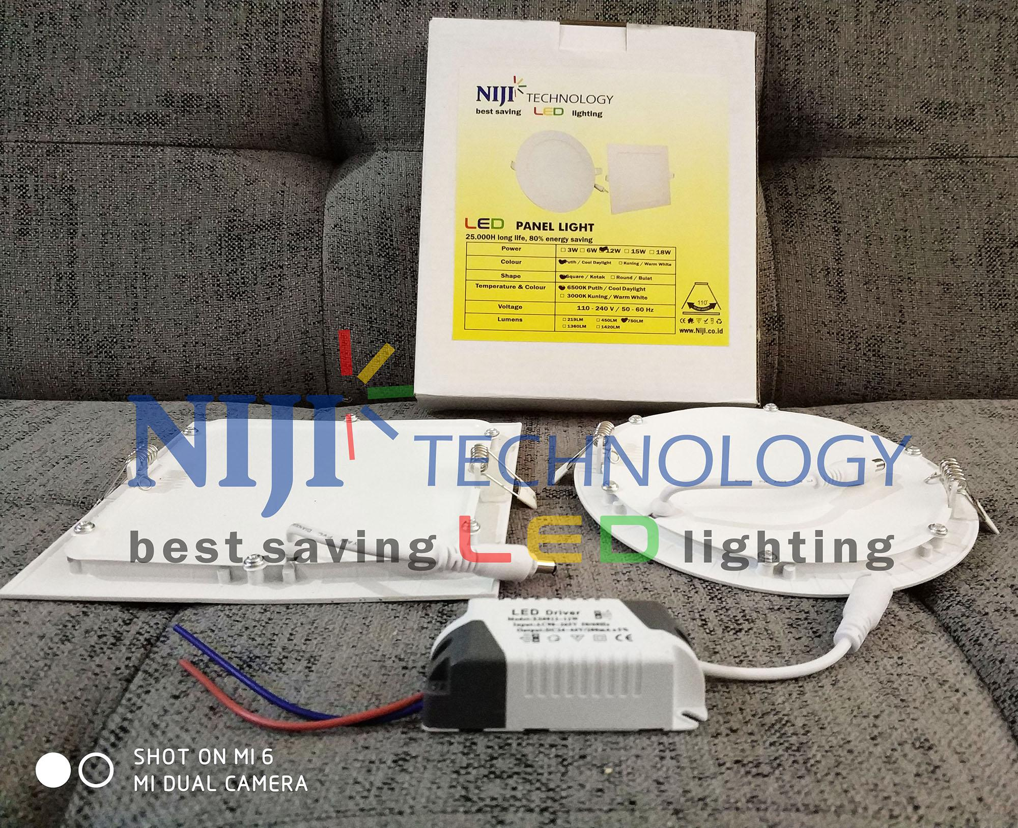 Lampu NIJI downlight LED panel bulat dan kotak warna putih 12W