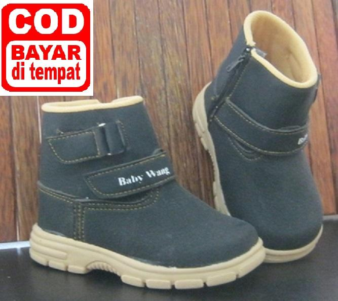 Sepatu Anak Baby Wang - Cowboy Boots Black Ukuran 3-5 tahun (size 27-28-29-30)