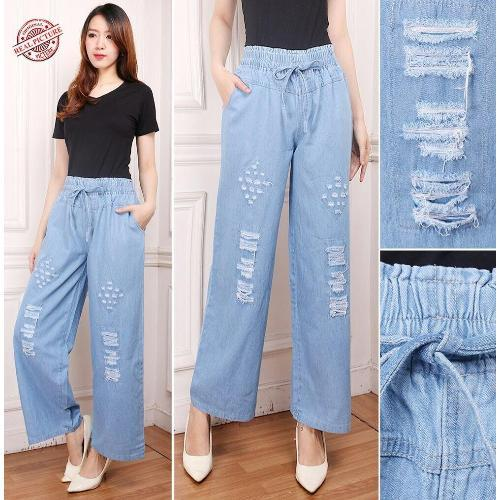 Celana Panjang Rhya Kulot Jeans Sobek Wanita
