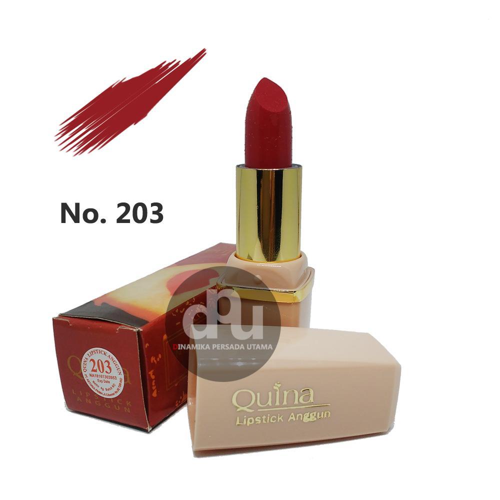 Lipstik Anggun QUINA Lipstick Glossy 203  / Makeup Bibir / Lipstik Glossy / Kosmetik / Kecantikan / Perawatan Make up