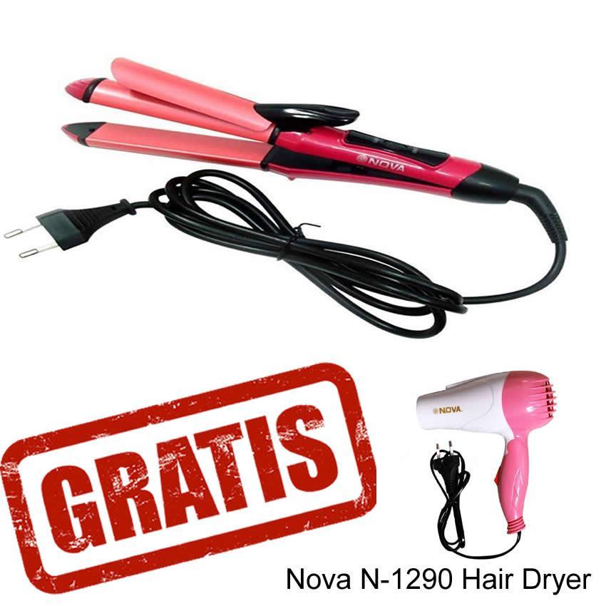 Nova NHC-2009 Catokan 2In1 Pelurus dan Keriting Rambut - Pink + Free Nova N-1290 Hair Dryer