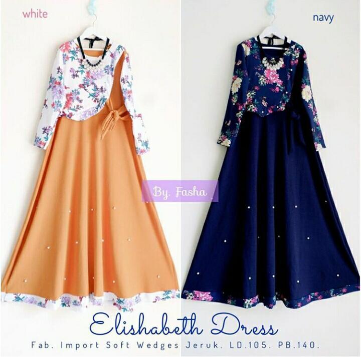 Baju Original Gamis Elishabeth Dress Baju Panjang Muslim Casual Wanita Pakaian Hijab Modern Modis Trendy Terbaru