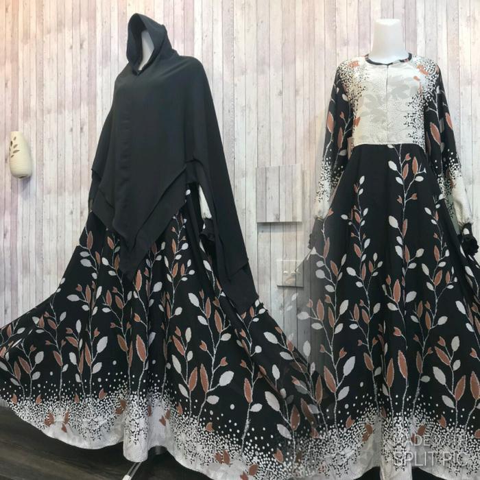 Adzra Gamis Murah syari/busana muslim wanita - Fathiya Dress - Hitam