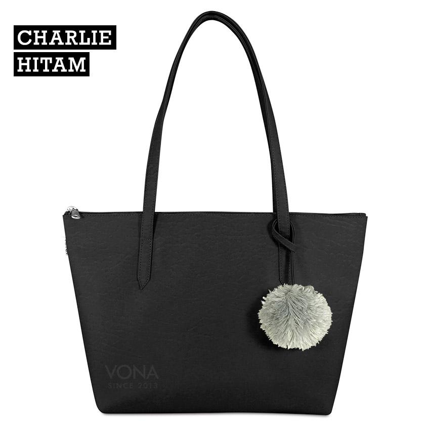 VONA Charlie [Hitam] - Tas Tote Bahu Pompom Bulu Shoulder Bag Wanita Tangan Sekolah Kerja Belanja Ladies Shopping Simple Handbag Remaja Cewek Tali Zipper Murah Korean Fashion Bali Kulit Sintetis PU Leather Best Seller New Terbaru Branded Original Asli