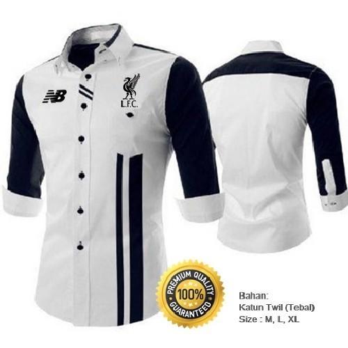 Kemeja Bola Liverpool FC Full Bordir Type B1 (PO05) Putih Strip Hitam - Kemeja Casual Katun Tebal