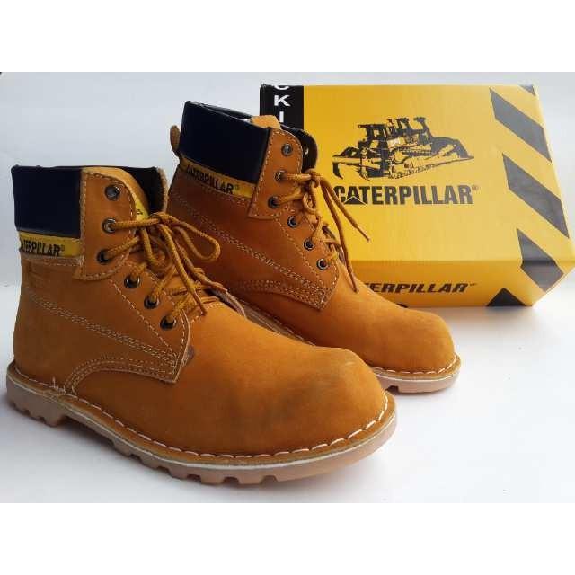 Promo Termurah Sepatu Caterpillar Safety Warna Tan Bahan Kulit Asli Gratis Ongkir