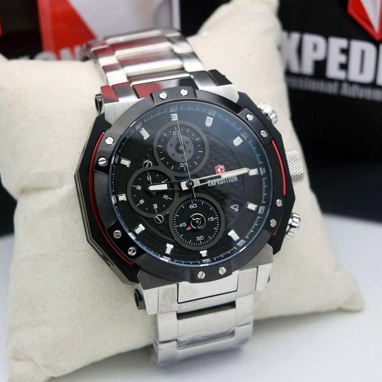 Jam Tangan Expedition Pria Original E6699 Brown Black E6385 Stainless Steel Silver Hitam