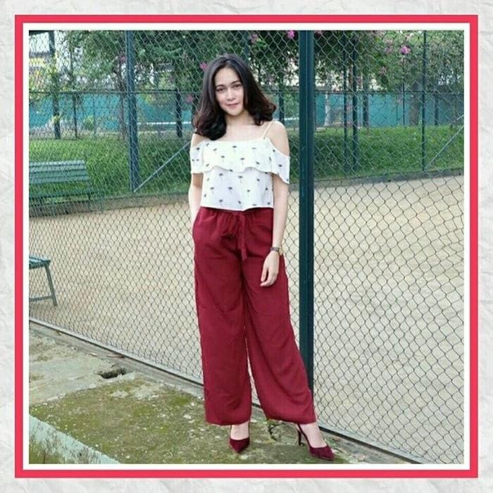 JUAL Celana Wanita Murah / Celana Panjang/ Celan Bahan / Kulot Ribbon Maron