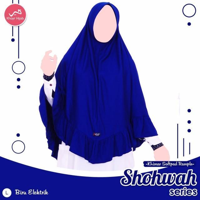 Kerudung Kaos Khayr Shohwah Series Khimar Pad Antem Biru Elektrik