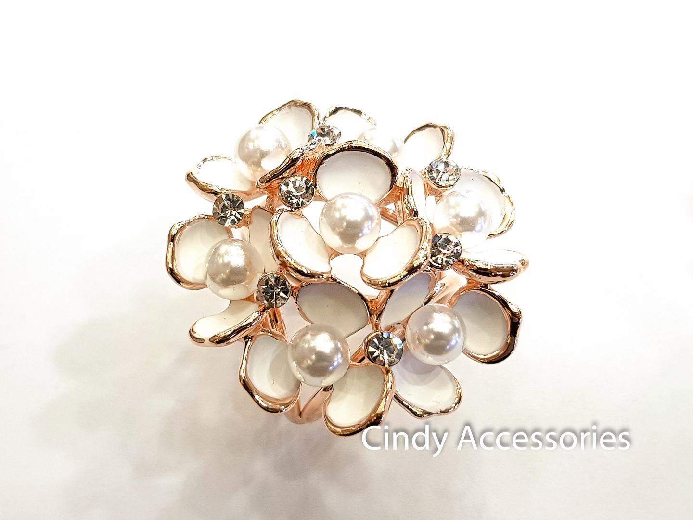 Ring Cincin Jilbab Syal Swarovski Bunga Pearl